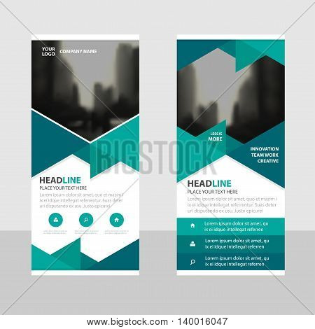 Green triangle Business Roll Up Banner flat design template Abstract Geometric banner template Vector illustration set abstract presentation brochure flyer template vertical template vector