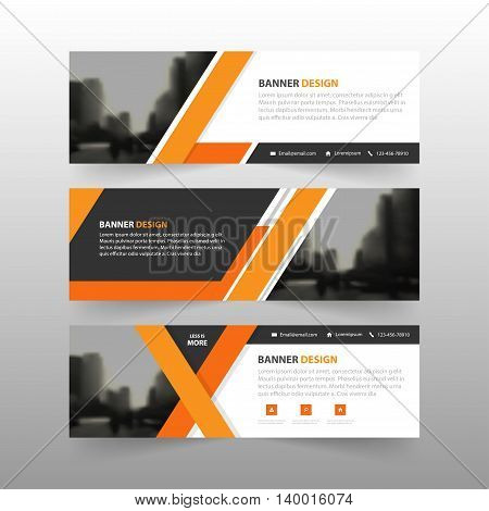 Orange abstract corporate business banner template horizontal advertising business banner layout template flat design set clean abstract cover header background for website design