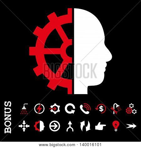 Cyborg Gear vector bicolor icon. Image style is a flat iconic symbol, red and white colors, black background.