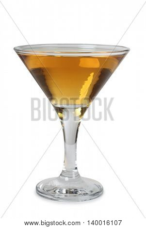 Cocktail in a glass on white background