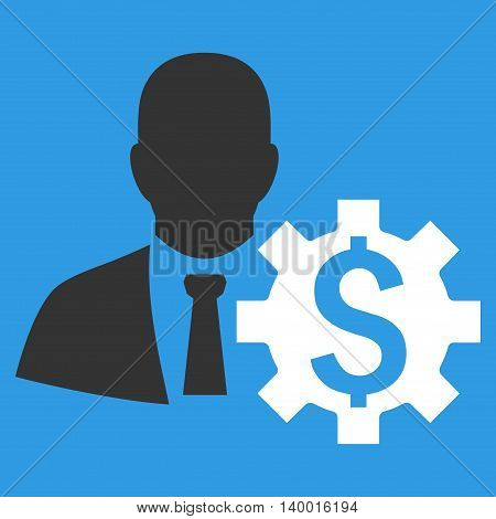 Banker Options vector icon. Style is flat symbol, white color, blue background.