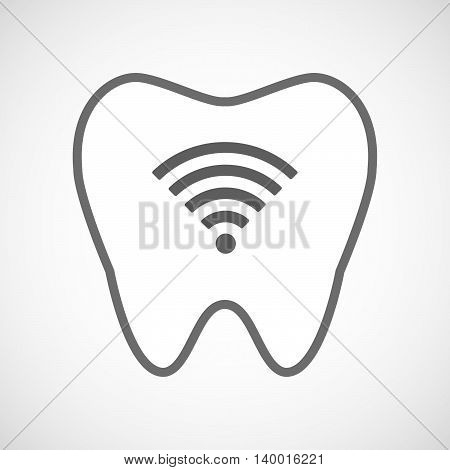 Isolated Line Art Tooth Icon With A Radio Signal Sign