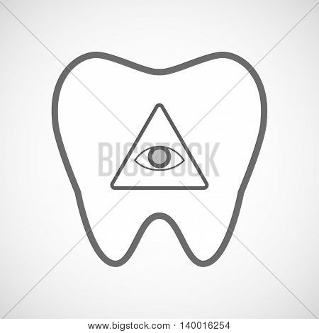Isolated Line Art Tooth Icon With An All Seeing Eye