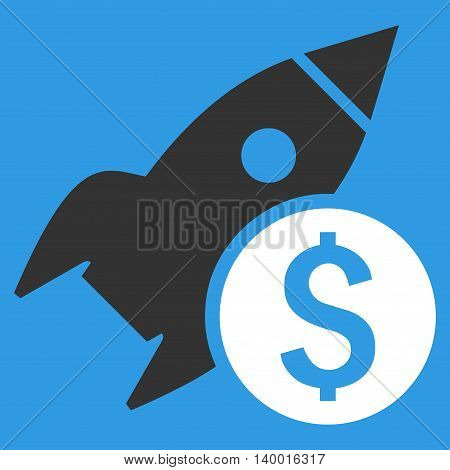 Business Startup vector icon. Style is flat symbol, white color, blue background.