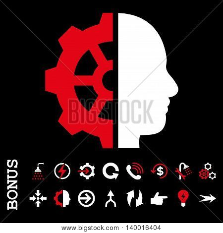 Cyborg Gear vector bicolor icon. Image style is a flat pictogram symbol, red and white colors, black background.