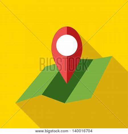 Map with pin pointer icon in flat style on a yellow background