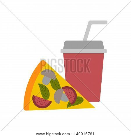 Vector illustration with flat american pizza and soda. Fast food vector logo. Restaurant cafe lunch breakfast flat design. Take away food. Unhealthy junk cuisine. Vector background for food design