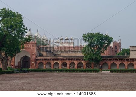 Agra, India - January 8, 2012: Moti Masjid in Red Agra Fort. Agra Uttar Pradesh India