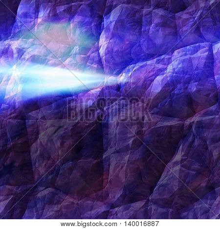 Abstract polygonal background of cracked rock and laser beams. Dark blue, pink and purple 3d background with flash of light