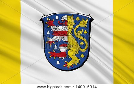 Flag of Hochtaunuskreis is a district in the middle of Hesse Germany. 3d illustration
