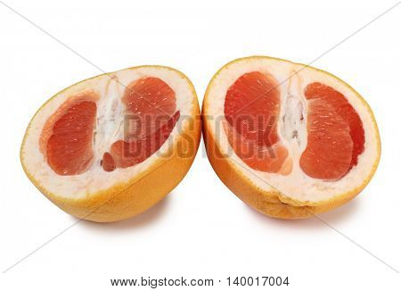 Ripe yellow grapefruit on a white background