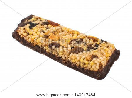 close up of chocolate with puffed rice bar on white background