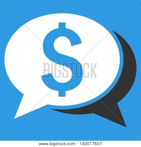 Financial Chat vector icon. Style is flat symbol, white color, blue background.