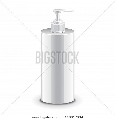 Cosmetic plastic bottle with dispenser pump for shampoo gel or soap vector illustration