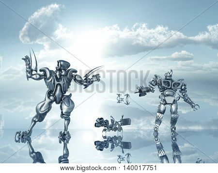 Computer generated 3D illustration with a group of robots