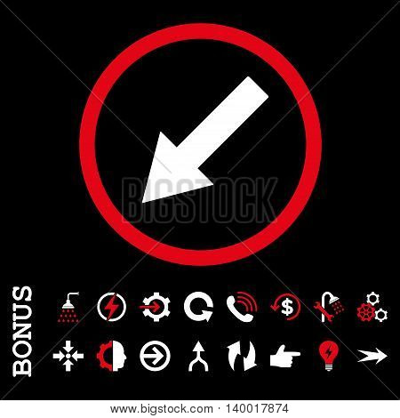 Down-Left Rounded Arrow vector bicolor icon. Image style is a flat iconic symbol, red and white colors, black background.