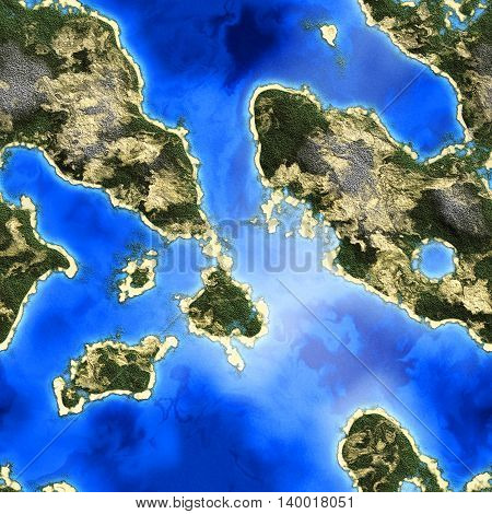 Seamless Texture landscape land and sea top view 2D illustration