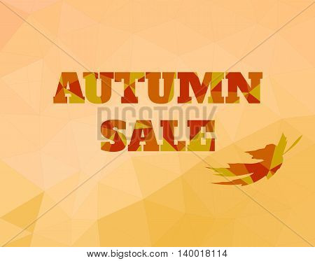 Vector background low poly style sale text for autumn period. Orange, red and yellow colors. Autumn sale text with falling leaf.