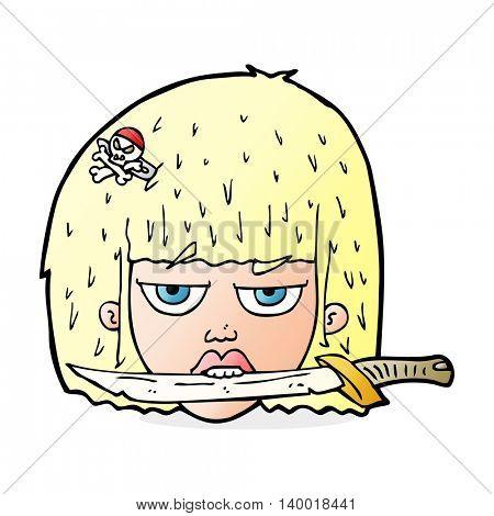 cartoon woman holding knife between teeth