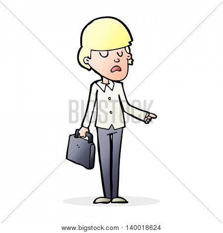 cartoon arrogant businessman pointing