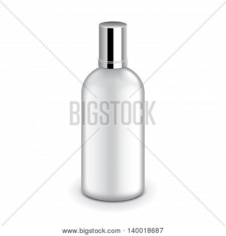 Transparent plastic bottle with metallic cap isolated on white photo-realistic vector illustration