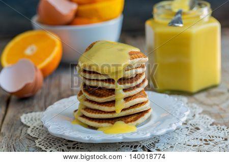 Pancakes With Orange Custard.
