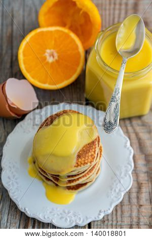 Delicious Pancakes With Orange Cream For Breakfast.