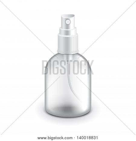 Transparent plastic spray bottle isolated on white photo-realistic vector illustration