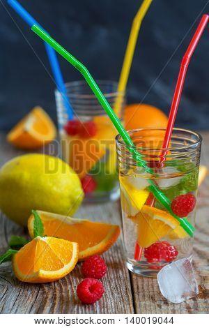 Fresh Lemonade With Citrus, Raspberry And Mint.