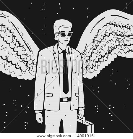 Man in a suit with wings vector illustration
