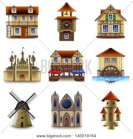Medieval buildings icons detailed realistic vector set