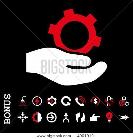 Engineering Service vector bicolor icon. Image style is a flat iconic symbol, red and white colors, black background.