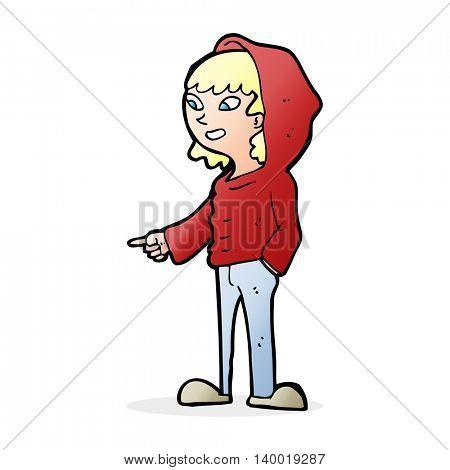 cartoon pointing teenager