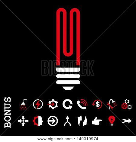 Fluorescent Bulb vector bicolor icon. Image style is a flat iconic symbol, red and white colors, black background.