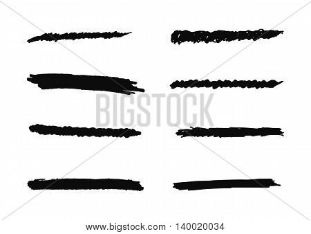 Pen strokes brush strokes. A set of eight isolated elements for design. Grunge.
