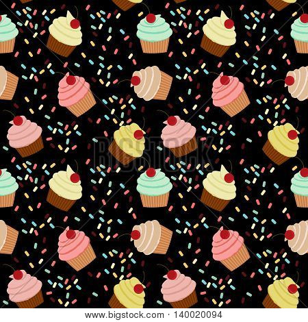 Seamless vector pattern with colorful cupcakes with cherries on black background.