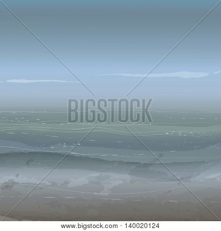 Sea background with quiet waves clouds and horizon. Watercolor effect vector illustration.
