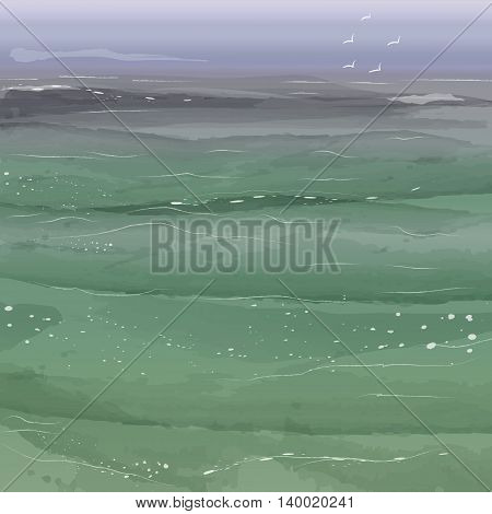 Seascape background  in watercolor style. Vector illustration.