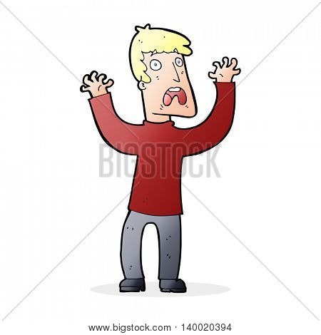 cartoon frightened man