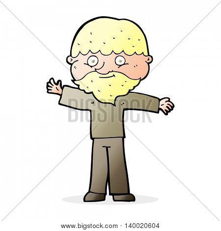 cartoon happy man with beard