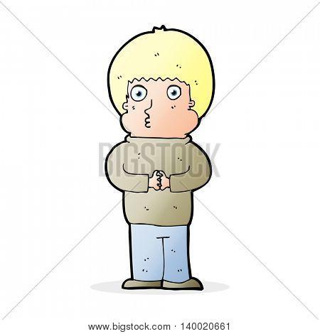 cartoon shy boy