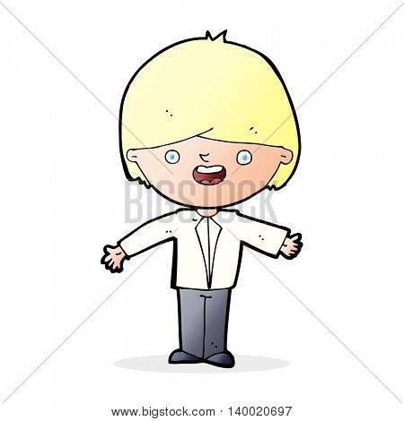cartoon happy boy with open arms