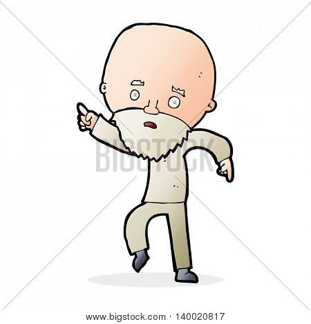 cartoon worried old man pointing