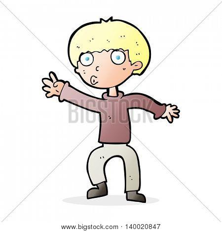 cartoon boy waving warning