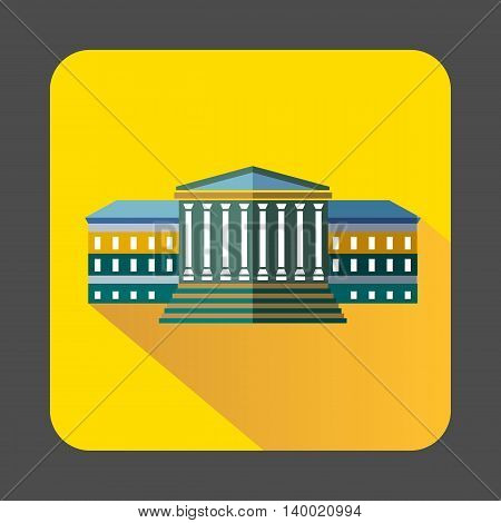 Government building with columns icon in flat style on a yellow background