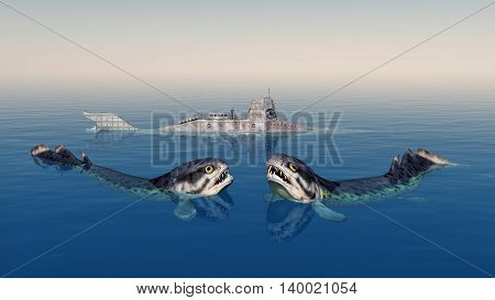 Computer generated 3D illustration with the extinct fish Rhizodus and a fantasy submarine