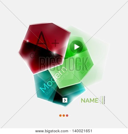 Geometric shaped business infographics. Glossy color elements with option text and button. Abstract presentation element