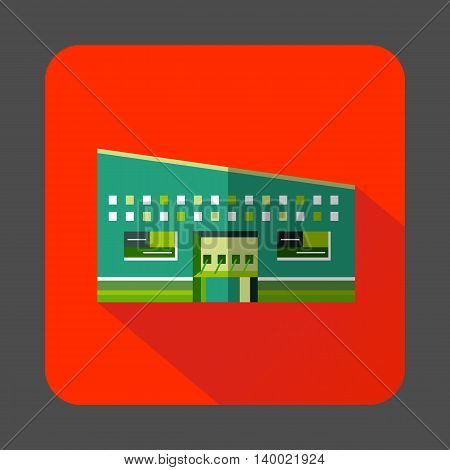 Modern building icon in flat style on a orange red background
