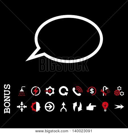 Hint Cloud vector bicolor icon. Image style is a flat iconic symbol, red and white colors, black background.