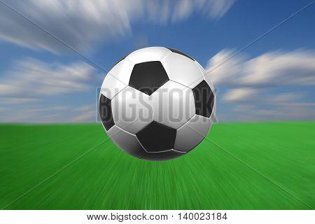 flying at high speed football 3D illustration